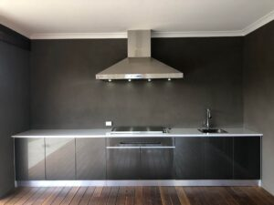 Aluminium cabinets 5mm titanium graphite doors Customer supplied own appliances and bench tops. Melbourne, VIC
